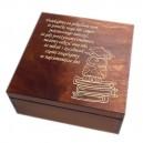 Drewniana szkatułka z grawerem dla nauczyciela, wzór nr 3, ciemna lakier