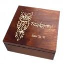 Drewniana szkatułka z grawerem dla nauczyciela, wzór nr 5, ciemna lakier