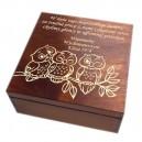 Drewniana szkatułka z grawerem dla nauczyciela, wzór nr 6, ciemna lakier