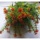 Gałązka dekoracyjna - kwiaty drobne pomarańczowe z ozdobna trawką 37cm