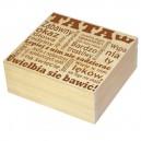 Drewniane pudełko z grawerem na Dzień Taty, wzór nr 4, kwadrat 20