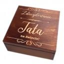 Drewniane pudełko z grawerem na Dzień Taty, wzór nr 11, kwadrat 20