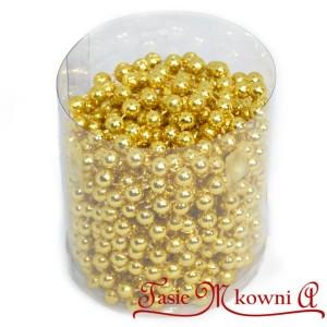 Girlanda koralikowa 8mm/8mb złota metaliczna, łańcuch