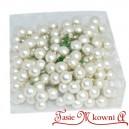Bombki szklane na druciku srebrne perłowe mat 2cm/144szt. duża paczka