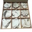 JESIENNE KSZTAŁTKI w drewnianym pudełku 27 szt