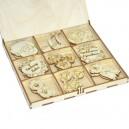 Kształtki DZIEŃ BABCI I DZIEŃ DZIADKA w drewnianym pudełku 27 szt