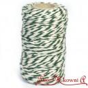 Sznurek bawełniany zielono-biały 100 g