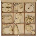 Kształtki ŚWIĄTECZNE ażurowe śnieżynki gwiazdki serca w drewnianym pudełku 27 szt