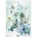 Papier ryżowy A4 R1732 niebieskie kwiaty