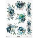 Papier ryżowy A4 R1731 niebieskie kwiaty, bukiet