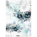 Papier ryżowy A4 R1730 niebieskie kwiaty, narożnik