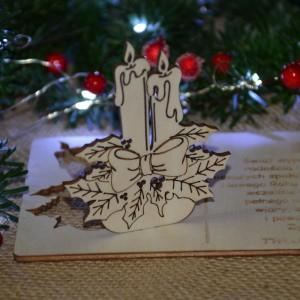 Kartka na święta życzenia ze ŚWIECZNIKIEM + koperta, Twój podpis