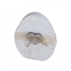 Jajko stojące drewniane BIAŁE z koronką i serduszkiem 1 szt -15 cm