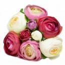 BUKIET PIWONII PEŁNIK 9szt DUŻY bordo, róż, białe