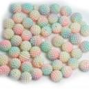 Koraliki cieniowane turkus, limonka, krem perłowe jeżynki 14 mm  60 szt.