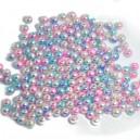 Koraliki cieniowane róż, błękit, krem pastelowe perłowe jeżynki 14 mm  60 szt.