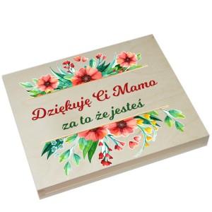 Drewniane pudełko na Merci na Dzień Matki wzór nr 1