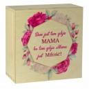 Drewniane pudełko z kolorowym nadrukiem na Dzień Matki, wzór 1
