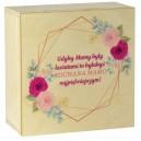 Drewniane pudełko z kolorowym nadrukiem na Dzień Matki, wzór 4