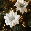 Poinsencja, gwiazda betlejemska aksamitna na klipsie 2 szt biała