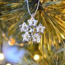 Śnieżynki srebrne - metalowe zawieszki na choinkę 2,7cm/6szt.
