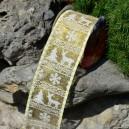 Wstążka jutowa z drutem ZŁOTO BROKATOWA motyw BIAŁY SWETERKOWY 6cm 9mb