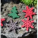 Choinki, śnieżynki drewniane mix kolorów