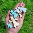 Aniołki drewniane w trzech kolorach i rozmiarach - pudełko 24 szt