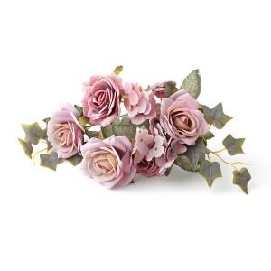 BUKIET RÓŻE HORTENSJE brudny róż wrzos