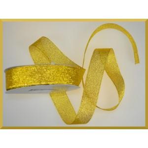 WSTĄŻKA brokatowa KOLOROWA 25mm złota ze złotym brokatem