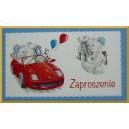 Zaproszenie na imprezkę dla dzieci/ CZERWONE AUTO