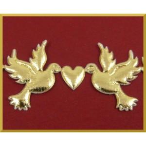 Gołąbki z serduszkiem złote