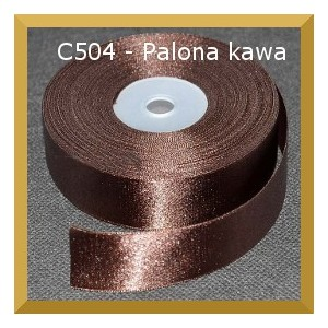 Tasiemka satynowa 25mm kolor C504 kawa palona