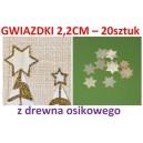 Gwiazdki z drewna osikowego małe 2,2cm