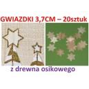 Gwiazdki z drewna osikowego średnie 3,7cm