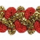 Taśma szlaczek z brokatem czerwono złota 1mb