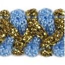 Taśma szlaczek z brokatem niebiesko złota 1mb