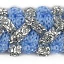 Taśma szlaczek z brokatem niebiesko srebrna 1mb