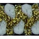 Taśma szlaczek z brokatem biało złota 1mb