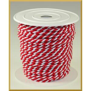 Sznurek oplatany 3,2mm biało-czerwony/ 1m