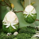 Jajko kraszanka z kokardką zielona 14cm