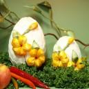 Jajko kraszanka kwiatowa biała + żółte kwiatki 10cm