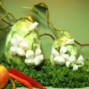 Jajko kraszanka kwiatowa zielona + białe kwiatki 10cm