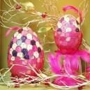 Jajko witrażowa obiata II 10cm fioletowo-różowe
