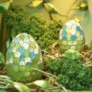Jajko witrażowa obiata II 10cm niebiesko-zielone