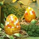 Jajko witrażowa obiata II 10cm pomarańczowo-żółte