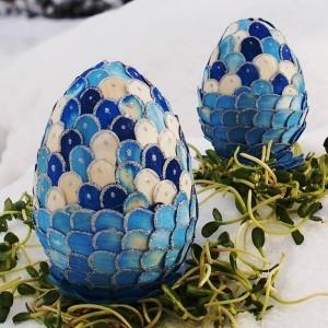 Jajko witrażowa obiata II 10cm szafirowo-niebieskie