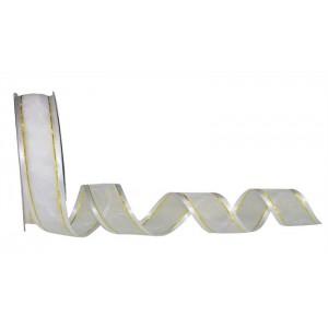 Tasiemka szyfonowa biała z atłasowym brzegiem 25mm