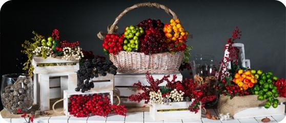 jagódki, borówki gałązki ozdobne jabłuszka na druciku
