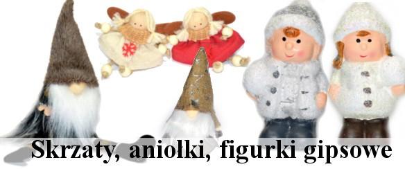 Skrzaty, figurki gipsowe, aniołki